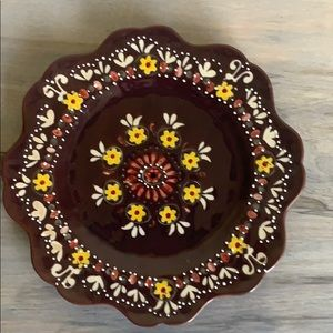 Anthropologie brown and yellow floral plate.
